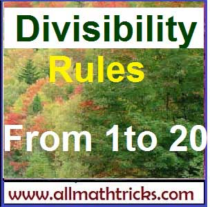 Divisibility Rules of numbers from 1 to 20