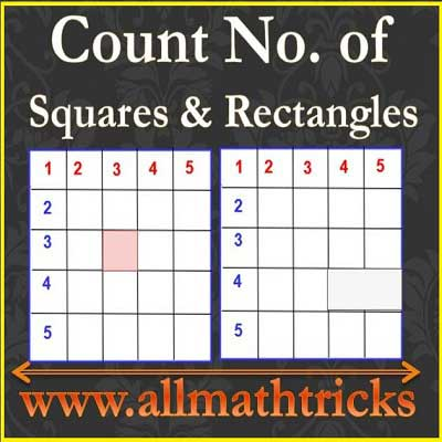 Count number of squares and number of retangles in a given n x m Grid   Count number of rectangle in a rectangle   How many squares are there in an N x M grid