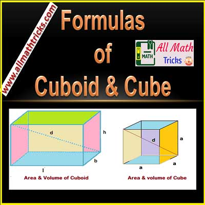formulas of cuboid and Cube - Surface Area, volume, Diagonal Length, Perimeter with examples   allmathtricks