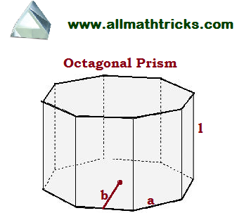 prism formulas  volume and surface area of a Octagonal prism