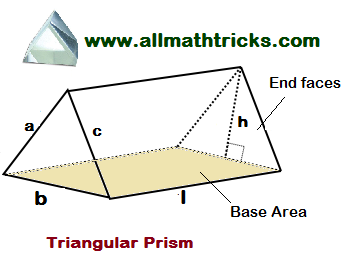 prism formulas   volume and surface area of a Triangular Prism